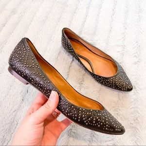 Coach Rory Black Silver Studded Leather Flats 7.5